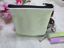 20 x Blank Plain Canvas zipper Coin Purse Key Wallet Storage Bag DIY Kids crafts