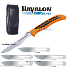 Havalon Knives Baracuta Blaze Skinning Folding Knife Orange + Blades 115BLAZE