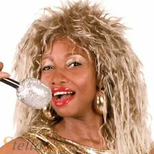 Ladies 80s Rock Queen Tina Turner Diva Blonde Crimped Wig Fancy Dress Accessory