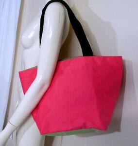 HERVE CHAPELIER 925N Large Shopping Bag Tote Square Base Fuschia and Kiwi
