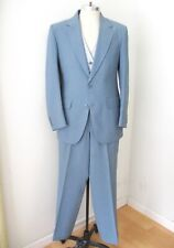 Vtg 70s Superfly Blue Poly 3-Pc Reversible Vest Wide Leg Disco Pimp Suit 42