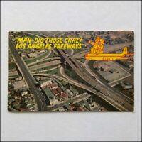 Man Dig Those Crazy Los Angeles Freeways 1971 Postcard (P398)