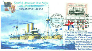 USS MAINE ACR-1 USN Spanish-American War Explosion Victim Color Cachet Pictorial