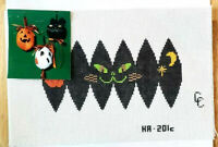 CC Designs BLACK HALLOWEEN CAT ORNAMENT Hand Painted Needlepoint Canvas 18 Count