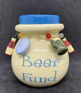 Ceramic Beer Fund Jar With Lid Coin Bank Money Jar Man Cave Fathers Day