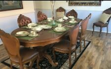 Antique DINING SET Extendable Table 8 Chairs ORNATE Buttonback
