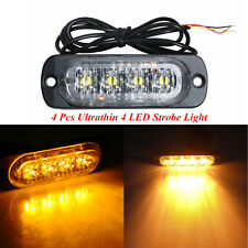 4pcs Car Truck Ambler Ultrathin 4LED Emergency Flash Beacon Strobe Warning Light
