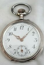Solid Silver Pocket watch engraved case ! Swiss *1880s*(FULL WORKING ORDER).