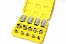 "14PC 1/4"" 3/8"" 1/2"" DR E FEMALE SOCKET TORX TORQUE STAR SOCKETS SET CR-V"