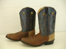 Boys Girls sz 5.5 D M Double H Cowboy Western Boots Buckaroo Brown Blue Leather