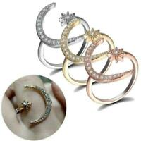 CZ Moon and Star Rings Women Wedding Jewelry Open Adjustable Ring Prof