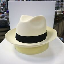 STETSON BARKER NATURAL COLOR SHANTUNG PANAMA (FINE WEAVE) FEDORA DRESS HAT