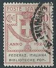 1924 REGNO USATO ENTI PARASTATALI BIBLIOTECHE POP. 10 CENT - RR13864-2