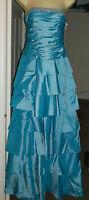 MORGAN TURQUOISE DIAMONTE LAYERED SATIN PROM DRESS (long or short) Size  8