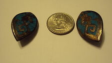 Vintage aztec turquoise Sterling Silver Clip On Earrings