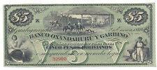 ENTRE RIOS 1869 BANCO OXANDABURU Y GARBINO UNC 5 $ PESOS BOLIVIANOS ARGENTINA