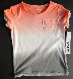 DKNY NWT Girls Tee Top Shirt Coral Gray Pocket 5 6 8 10 Medium M