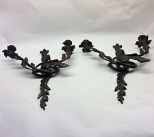 Antique Pair Of French Louis XV Rococo Solid Bronze Wall Sconce Candle Holder