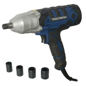"ToolTronix Electric Impact Wrench Socket Kit 1/2"" drive Corded Gun 350nm Torque"