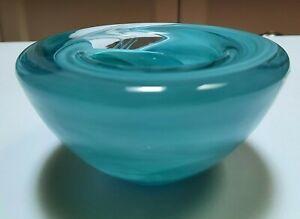 Kosta Boda Aqua Swirl Glass Candle Holder Original Sticker