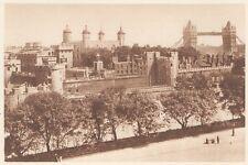 G0106 England - London - Le Tour et le Pont  - Stampa d'epoca - 1923 Old print