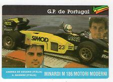 1987 Portugais Poche Calendrier F1 Minardi Équipe De Cesaris & Nannini Italie