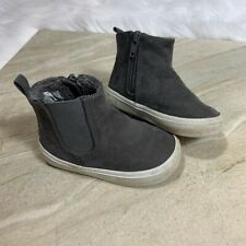 7 8 BABY GAP KIDS Charcoal Gray Faux Suede Sneaks Sneaker Boots Boy Toddler NWT