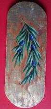 Peinture sur bois, branche d'olivier sur fond doré à la feuille ; Grèce