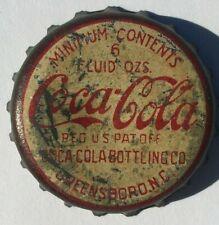 COCA-COLA CORK SODA BOTTLE CAP; GREENSBORO, NC; USED