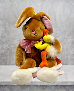 Dan Dee Collectors Plush Easter Bunny With Duckling Bunny Slippers Cuddly Soft