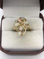 Estate 14k Yellow Gold Opal Cluster & Diamond Flower Ring Size 6.5