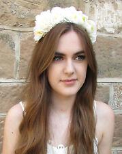 Ivory White Cream Rose Flower Hair Crown Garland Headband Festival Bridal W70