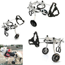 PET CAT DOG HARNESS WHEELCHAIR MOBILITY WALKER SIZE LARGE 2 WHEELS STAINLESS NEW