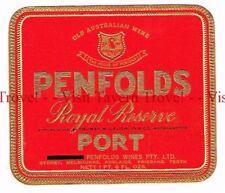 Unused 1940s AUSTRALIA Sydney PENFOLDS ROYAL RESERVE PORT WIne Label