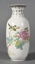 "Antique French Samson Porcelain Chinese Export Style Vase Bird & Flowers 7"" high"