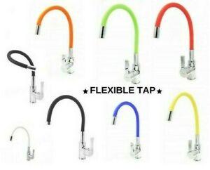 Kitchen Flexible Mixer Sink Flex Tap Rubber Spout brass black white blue