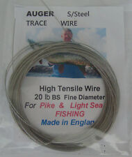 20lb BS Stainless Steel & crimps Nylon  Covered  Fishing Wire made in England