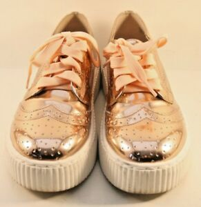 Shellys of London Rose Gold Patent Leather Oxford Shoes Womens Size US 6.5M