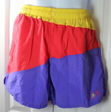 Ocean Pacific OP VINTAGE Large Purple Yellow Red Colorblock Lined Swim Trunks