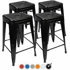 Set of 4 Black 24 Inch Counter Height Metal Bar Stools, Indoor/Outdoor Stackable