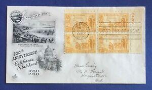 #997 California Statehood FDC--Mellone #4--Artcraft--Sept. 9, 1950--Plate Block