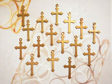 20 PC LOT Vintage Brass 18mm Gothic Style Crosses with Loop #33