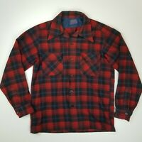 VTG Pendleton Mens Plaid Long Sleeve Button Flannel Shirt Sz M 100% Virgin Wool