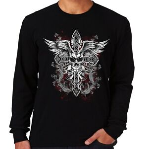 Velocitee Mens Long Sleeve T-Shirt Medieval Skull Biker Cross Gothic Goth A23006
