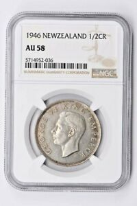 1946 New Zealand 1/2 Crown NGC AU 58 Witter Coin