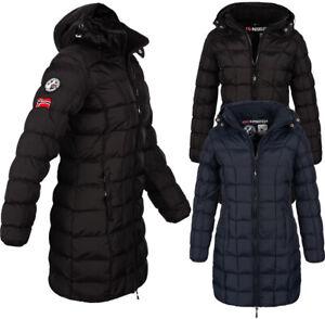 Geographical Norway Damen Winter Jacke FVSB Mantel Parka Steppjacke lange kapuze