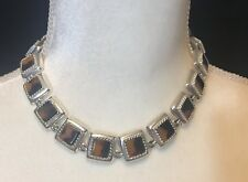 "Napier Honey Brown Square 15"" Choker Necklace"