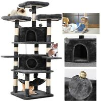 """75""""Cat Tree Tower Condo Home Scratching Post Sisal Kitty Climbing Furniture Gray"""