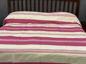 Woven Mexican Bedspread - Zapotec Hand Woven Bed Cover - King Size Linen Blanket