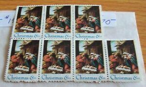 U.S. stamp 6c Christmas - Traditional, scot #1414, block of 7